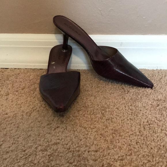8eea748e2d6 BCBGirls Purple Pointy Toe Kitten Heel Mules